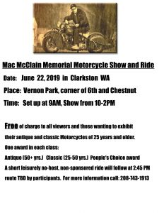 Mac McClain Memorial Motorcycle Show and Ride @ Mac McClain Memorial Motorcycle Show and Ride |  |  |